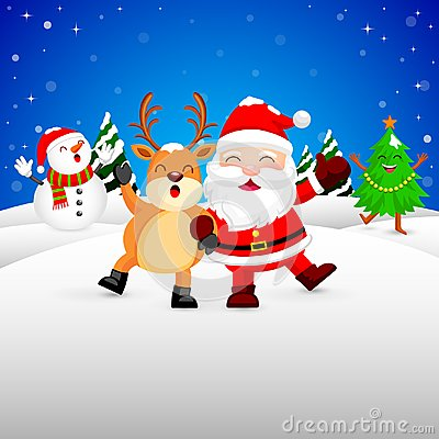 stock image of  funny christmas characters design on snow, santa claus, snowman, xmas tree and reindeer.
