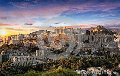 stock image of  the parthenon temple at the acropolis of athens, greece