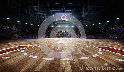 stock image of  professional basketball court arena in lights with fans 3d rendering