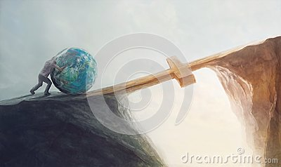 stock image of  pushing the world over the cross