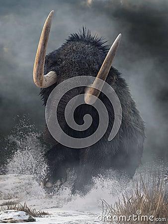 stock image of  raging mammoth