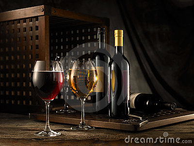 stock image of  red and white wine