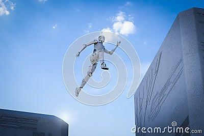 stock image of  robot jump across