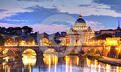 stock image of  rome at night