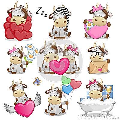 stock image of  set of cute cartoon cow