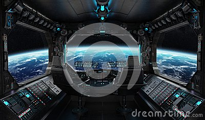 stock image of  spaceship grunge interior with view on planet earth