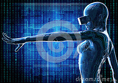 stock image of  the stylish chromeplated cyborg the woman. 3d illustration.
