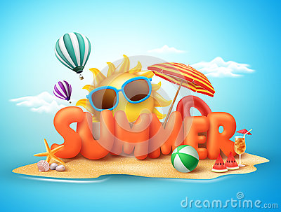 stock image of  summer vector banner design concept of 3d text in beach island