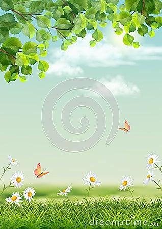 imagine stock despre  vectorul vara peisaj