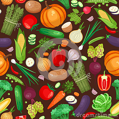 stock image of  vegetables ingredients seamless pattern