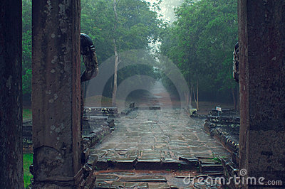 Ta Som temple entrance in the rain. Angkor Wat