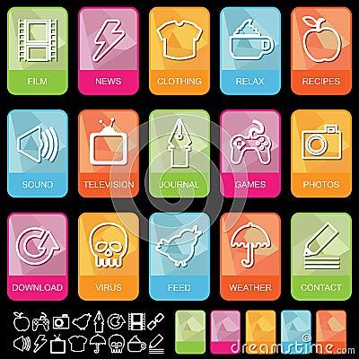 Tab icons on black, set 2