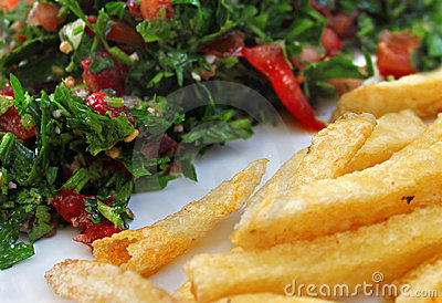 Tabbouleh e patate fritte