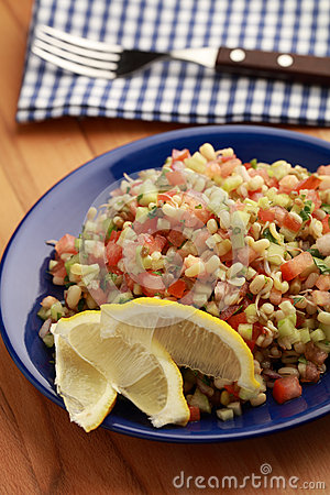 Free Tabbouleh Salad With Mung Beans And Vegetables Stock Image - 74415881