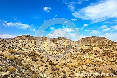 Tabernas desert mountains, Andalusia, Spain.