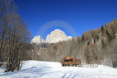 Tabia under the Pelmo mountain