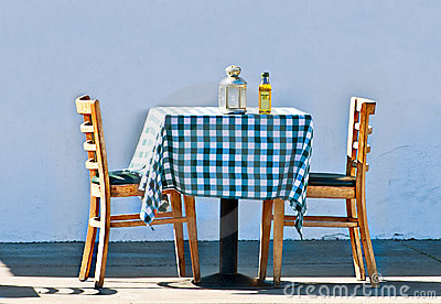 Table with Blue Checkered Cloth