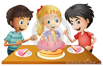 A table with cake surrounded by three kids