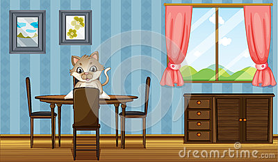 A table with a cat reading