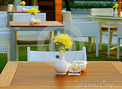 Table and chair setting in outdoor restaurant