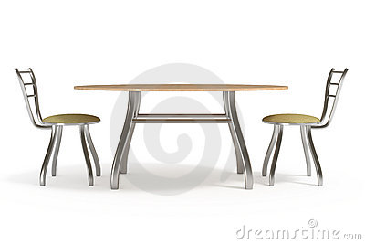 Table and chairs, isolated on white, clipping path