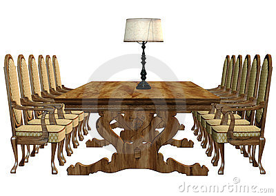 Table with chairs and lamp