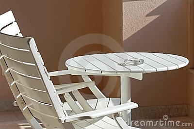 Table and chairs on terrace