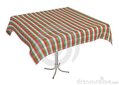 Table with cloth, clipping path included