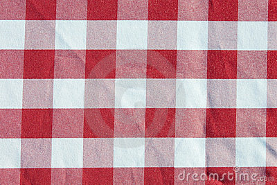 Table cloth red checkered pattern
