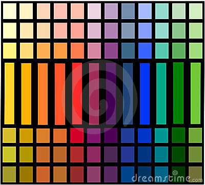 Table of color gradation