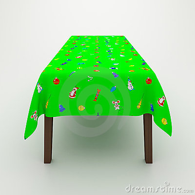 Table covered with a cloth