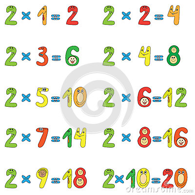Table de multiplication de 2 photo libre de droits image for Table de multiplication de 2