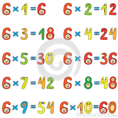 Table de multiplication de 6 image stock image 25805521 for Table de 6 9