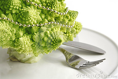 Table decoration with romanesco