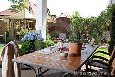 Table in domestic garden