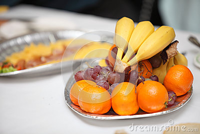 Table with food and drink event party