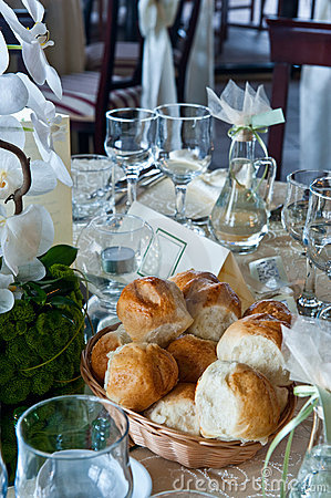 Table with glasses on a wedding event