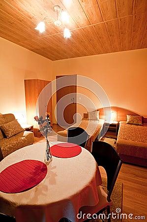 Table in hotel bedroom