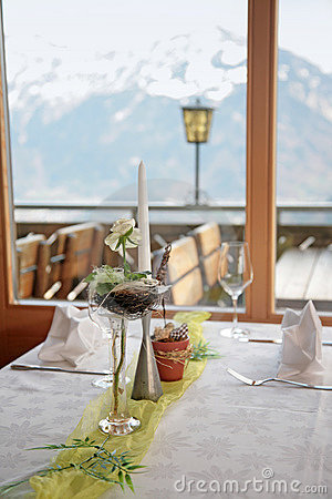 Free Table In Mountain Restaurant Royalty Free Stock Images - 13220769