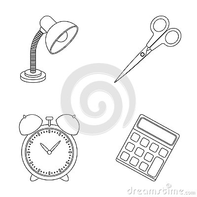 Free Table Lamp, Scissors, Alarm Clock, Calculator. School And Education Set Collection Icons In Outline Style Vector Symbol Royalty Free Stock Photography - 94641597
