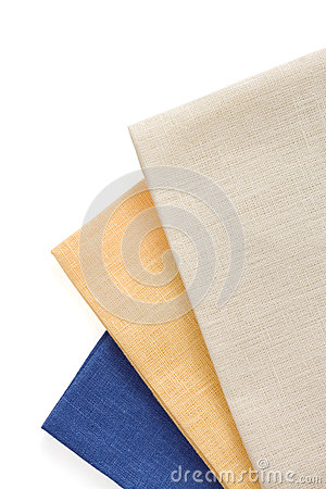 Table napkins on white