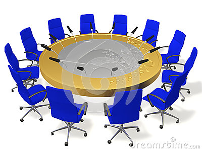 Table for negotiations with microphones