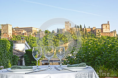 Table overlooking the Alhambra
