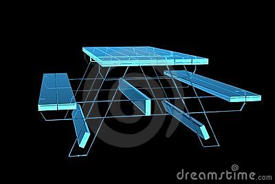 Table pic-nic 3D xray blue