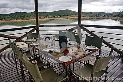 Table in the restaurant on lake