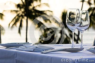 Table served for dinner.