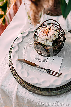 Free Table Served In Rustic Style For Wedding Dinner. Bridal Table Outdoor. Cutlery Stock Images - 96988234
