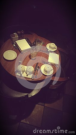 Table set in dark restaurant
