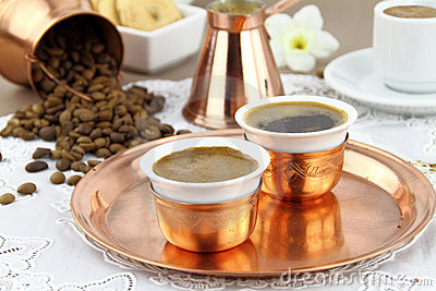 Table set with Greek or Turkish coffee