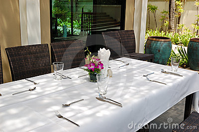Table set at the outdoor restaurant